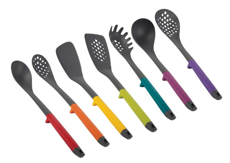 Modern Lift Utensils, which include spoons, turners, servers, ladles and skimmers, raise the utensil off the countertop when set down to rest. corekitchen.com