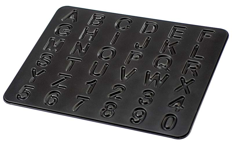 The nonstick-coated Zenker ABC 123 Pan includes every letter in the alphabet and numbers 0 to 9. frieling.com