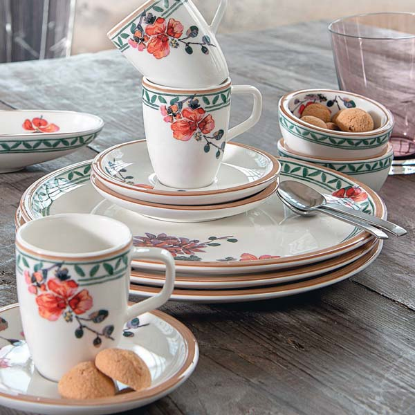 The Artesano collection expands with Artesano Provencal, decorated with orange geraniums and purple roses. villeroy-boch.com