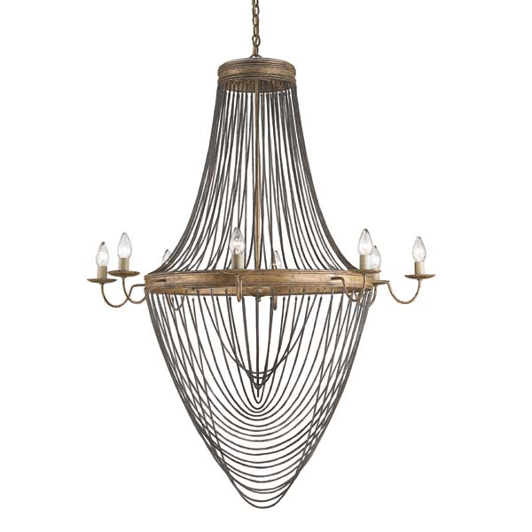 This large, 8-light Lucien chandelier (#9412) from Currey & Co. is made of wrought iron and chain mail cord and is finished in French gold leaf/antique wash silver. curreyandcompany.com