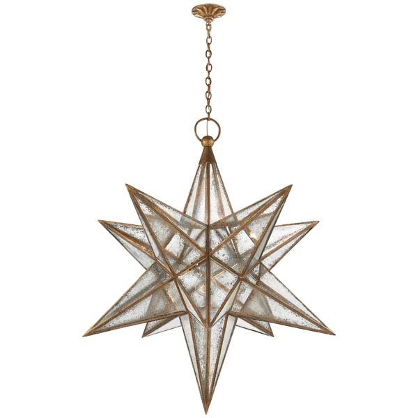 From Visual Comfort, the Moravian XL Star in a gilded iron finish with antique mirror was designed by E. F. Chapman. Two smaller sizes are also available, as are aged iron and burnished silver leaf finishes. visualcomfort.com