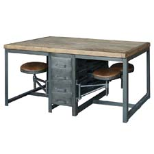 Four Hands Rupert Work Table from the Hughes Collection is made of bleached pine and rustic black. fourhands.com