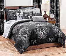 Made of cotton and polyester, the Bone Collector line comes as mini bed sets, sheet sets, drapes, valances, shower curtains and decorative pillows. kimlor.com