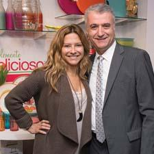 Ingrid Hoffman, the Food Network's host of Simply Delicioso, with Sal Gabbay of Gibson Overseas, which launched the Simplemente Delicioso tabletop and housewares collection.