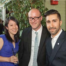 Gina Kwun and John Weeth of Gump's with Elad Yifrach of L'Objet, right, at the company's party, held at the Gramercy Park Hotel.