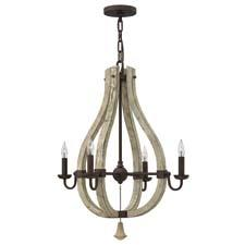 The solid distressed wood and steel combination of Hinkley's Middlefield design has a rustic chic design that exudes a historical feel. The collection includes chandeliers, pendants and sconces. hinkleylighting.com