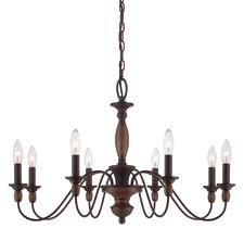The Holbrook collection from Quoizel consists of three items, including this 8-light chandelier. In a Tuscan brown finish, the collection is made of steel. quoizel.com