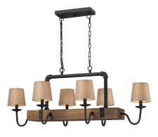 The company's Early American collection within its HGTV Home line uses either turned or milled solid wood to evoke an understated handmade look. The colonial maple finish complements the vintage rust metalwork. elklighting.com