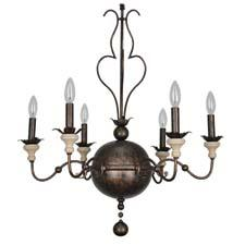 The six-light, colonial-style Amelia chandelier features a large center ball available in two finishes, with thin iron arms and aged ivory bobeches. Whimsical iron work replaces the traditional thick center stem. crystorama.com