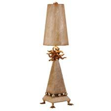 Signature Flambeau style is presented in Leda, which features webbed gold leaf feet, supporting beveled mounting and silver spheres, and with a gold leafed blossom and silver sphere on top. flambeaulighting.com