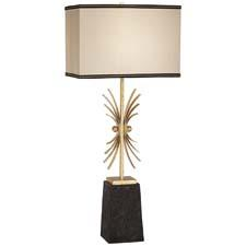 In Pacific Coast Lighting's African Skies (style #87-7181-76), regal details include a rich black base and ornate gold accented column, and a faux silk shade with woven soutage trim. pacificcoastlighting.com