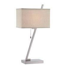 Style #LS-22287 from Lite Source is a contemporary table lamp with a polished steel metal body and a linen fabric shade and top diffuser. It uses a 23W CFL (included) or a 100 W A type bulb. lite-source.com