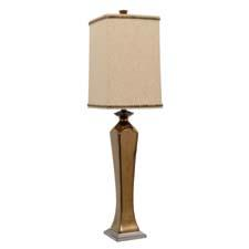 This tall sleek ceramic lamp from Jimco is finished in a burnished copper crackled glaze, complemented by a charcoal metallic base. The natural raw linen shade is accented with square burnished copper studs. jimcolamp.com