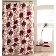 The Avery shower curtain features an oversized floral motif in red, white and pink. mstyledesigns.com