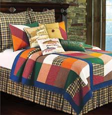 Lodge is the prominent design theme for On the River, a bed ensemble with a quilt for top of the bed. cnfei.com