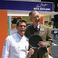 Gorham hosted a book-signing event with chef Rick Bayless at the Lenox/Gorham booth. The Chicago-based chef shares a laugh with Lenox CEO Peter Cameron.
