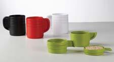 Designed for Umbra by Jordan Murphy, the Cuppa Stackable measuring cup set is in the shape of a coffee mug and comes apart as four different measuring cups. Made out of molded ABS. umbra.com