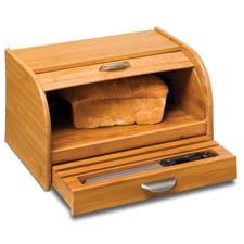 Bamboo items have become a fixture of the Honey-Can-Do kitchen line, and now include a bread box with cutting board drawer and roll top, shown, cutlery trays and a utensil and caddy set. honeycando.com