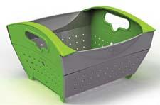 Founded last year, Infusion Living will debut at the show with the Fozzils Snapfold collapsible colander, which folds flat for storage. The three-quart colander is offered in two color combinations. infusionliving.net