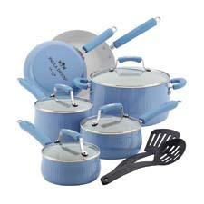 Meyer's Paula Deen brand launches the Savannah cookware, available in four hues of red, blueberry, pear and black. Crafted in heavy gauge aluminum, it has an ivory-colored nonstick interior and a porcelain exterior. meyer.com