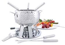 Swissmar's Geneva 11-piece stainless steel fondue set has a modern design. The pot is made of 18/8 stainless steel, while the bottom is 18/0 for added protection and stability of heat. swissmar.com