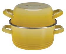 Le Creuset's Traditional Mussel Pot can be used on the stovetop for steaming shellfish. The lid traps moisture and doubles as a bowl for discarded shells while eating. lecreuset.com