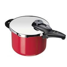 Offered in red and black, Fagor's new 6-qt. Color Stainless Steel Pressure Cookers are designed with two pressure settings and automatic self-locking mechanism. They come with a steamer basket. fagoramerica.com