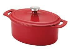 Here as the 3.5 qt. cast iron casserole, Meyer's Rachael Ray cast-iron cookware line expands into three new colors: red, blue and purple. In addition, a 2 qt. open saucepan and 9-by-13-inch lasagna baker have been added. meyer.com