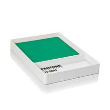 Pantone's color of the year, emerald, shows up in the Pantone Universe licensed collection that includes this key tray. roomcph.com