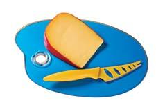 The Artist Palette Cheese Board is available in pink, blue or orange and comes with a cheese knife. lsarts.com