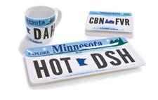 Stoneware vanity plates employ iconic license plate imagery and a tongue-in-cheek attitude. Available in eight states. talismandesigns.com