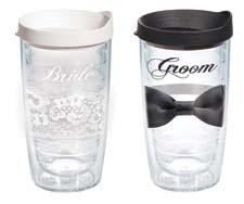 Here comes the bride, all dressed in a virtually unbreakable gown of white lace and topped with a spill proof veil, with a tuxedoed groom. tervis.com