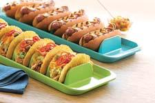 The stackable melamine Stuffit Platter, available in two colors, can hold 16 tacos or eight hot dogs—or anything else—upright. foxrunbrands.com