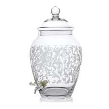 The Grahamsville etched and blown-glass beverage dispenser features an all-over jacquard pattern. 212-683-2727