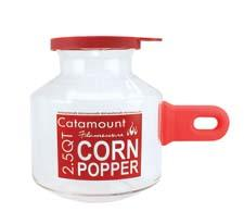 Catamount's 2.5-quart microwave corn popper with a silicone handle offers a healthy alternative to bagged microwave popcorn. catamountglass.com