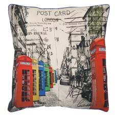 The multicolor London is part of a new grouping of decorative pillows with travel scenes and global icons. safavieh.com