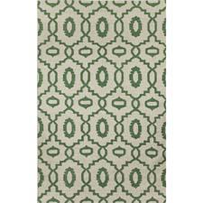 One of Genevieve Gorder's newest flatweave designs, this pattern is one of several that are colored in emerald in the collection. capelrugs.com