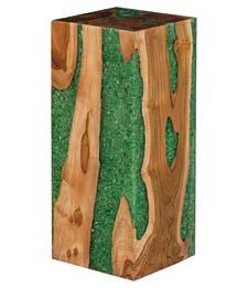 The Glitz stool marries wood and resin into one eye-catching accent piece. Available in translucent, brown and, here, green resin. phillipscollection.com