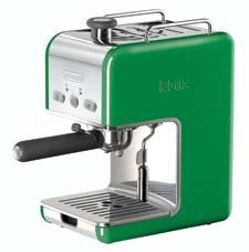 Colors like emerald work on small electrics, too. The Pump Espresso Maker from De'Longhi's kMix collection is designed with a swivel jet frother, a 34-ounce water tank and a removable drip tray. delonghi.com