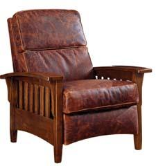 From the Western Collection, the Mission Push Back Recliner includes nailhead detailing and distressed leather. omnialeather.com