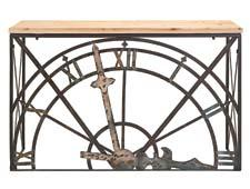 In IMAX's furniture collection, the arresting Half-Clock console table is made of wrought iron and wood and is 32.75 inches high. imaxcorp.com