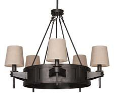 The Rico Espinet Caspian chandelier from Robert Abbey has a deep patina bronze finish and raw linen shades. robertabbey.com