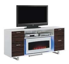 The ClassicFlame media mantle has an open center shelf with compartment divider for media-component storage and an electric fireplace that rotates open to reveal hidden storage. twinstarhome.com