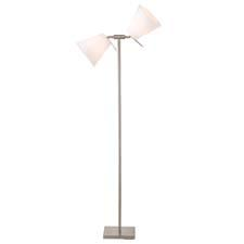 "The Pivot Double floor lamp from Adesso has two adjustable shades that adjust 360 degrees horizontally and 180 degrees vertically. The pole comes to a ""T,"" with the shades extending from each end. adessohome.com"