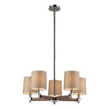 The Jorgenson collection from ELK bridges the gap between mid-century modern furniture design and lighting. Shown here in taupe wood, polished nickel metalwork and champagne fabric shades. elklighting.com