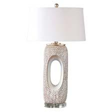 The dimpled ceramic Carbonado lamp from Uttermost is finished in a distressed ivory glaze with blue-beige undertones, silver leaf accents and a crystal foot. uttermost.com