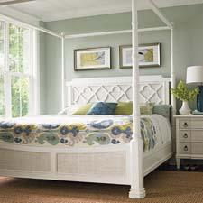 The Ivory Key Collection features an eclectic fusion of British colonial, African and European influences. Pictured is the South Hampton Poster Bed. lexington.com
