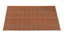 Chilewich gets colorful with its new Shag Skinny Stripe indoor/outdoor mats. They're offered in four sizes and six colors (birch, citron, bright multi, mushroom, steel and, here, orange). chilewich.com
