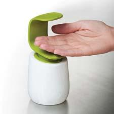 Joseph Joseph is expanding in the cleaning and organizing area with the C-pump, a single-handed soap dispenser that can be easily operated with the back of one hand. josephjoseph.com