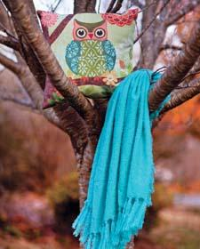 Manual Woodworkers & Weavers' Forest Owl Climaweave pillow features a design by artist Jennifer Brinley. manualww.com